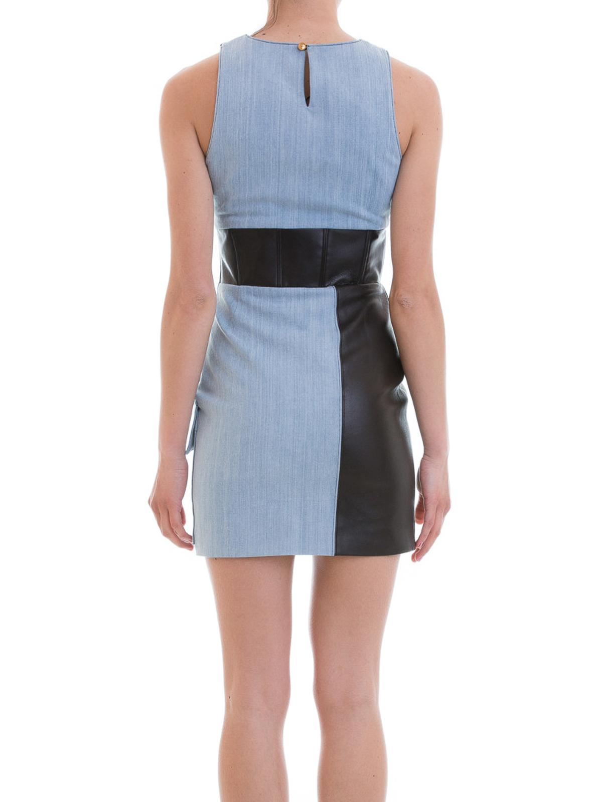 e84f3f7911 iKRIX FAUSTO PUGLISI  short dresses - Leather inserts denim short dress