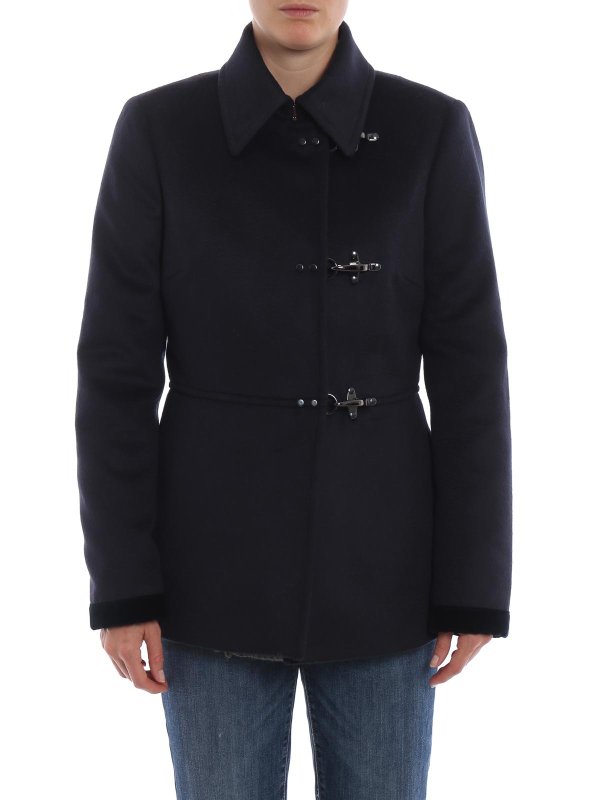 best service 693ff cf26e Fay - Giacca in panno di lana e cashmere blu - giacche ...