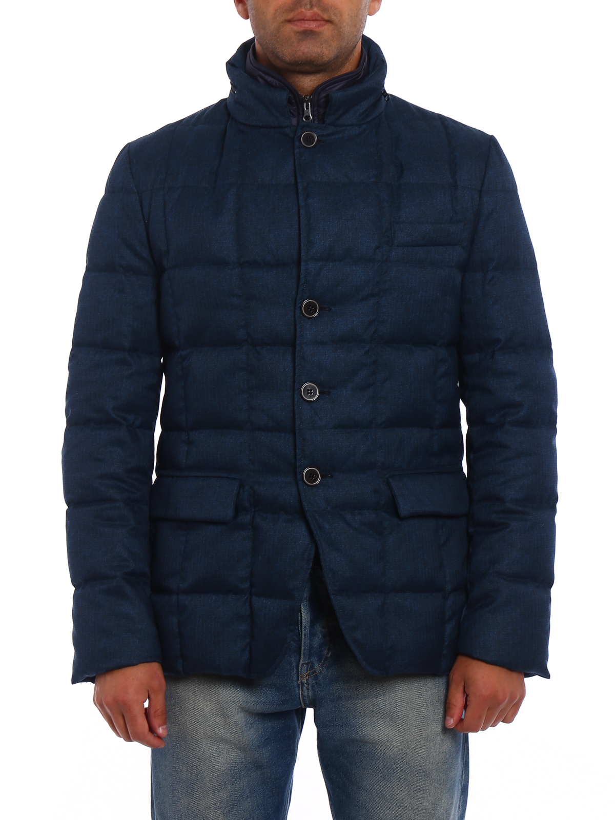 iKRIX Fay: padded jackets - Blue herringbone padded jacket