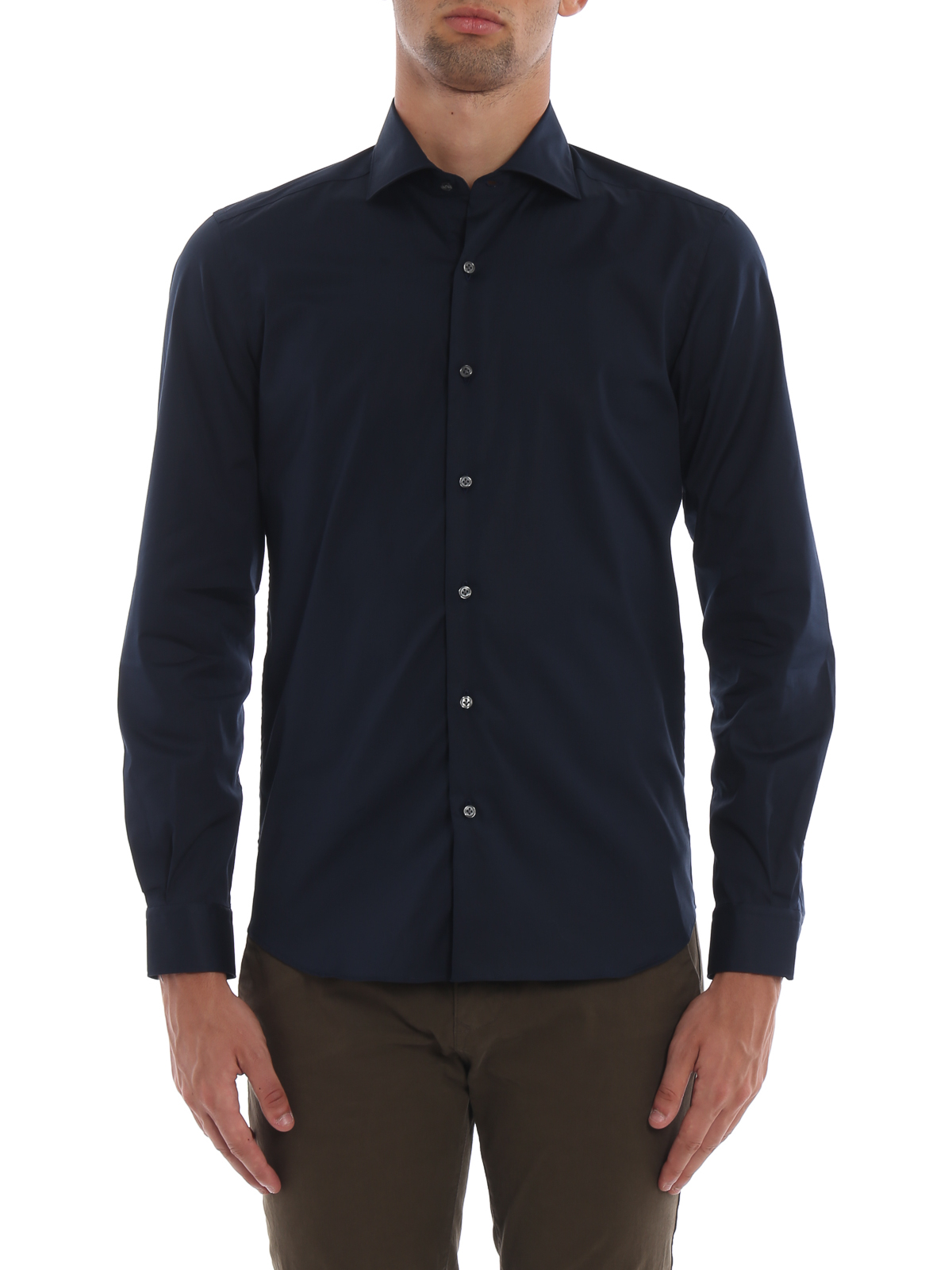 1ebeb2f02c29 iKRIX FAY: shirts - Dark blue stretch cotton poplin shirt