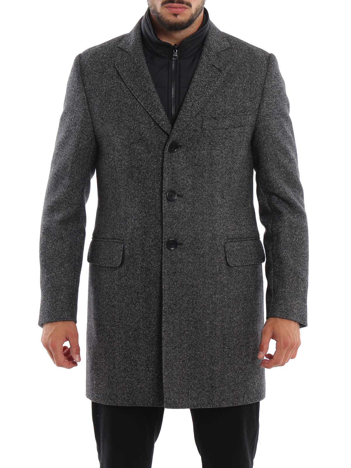 sale retailer c4a23 5cf57 Fay - Herringbone wool coat with removable gilet - short ...