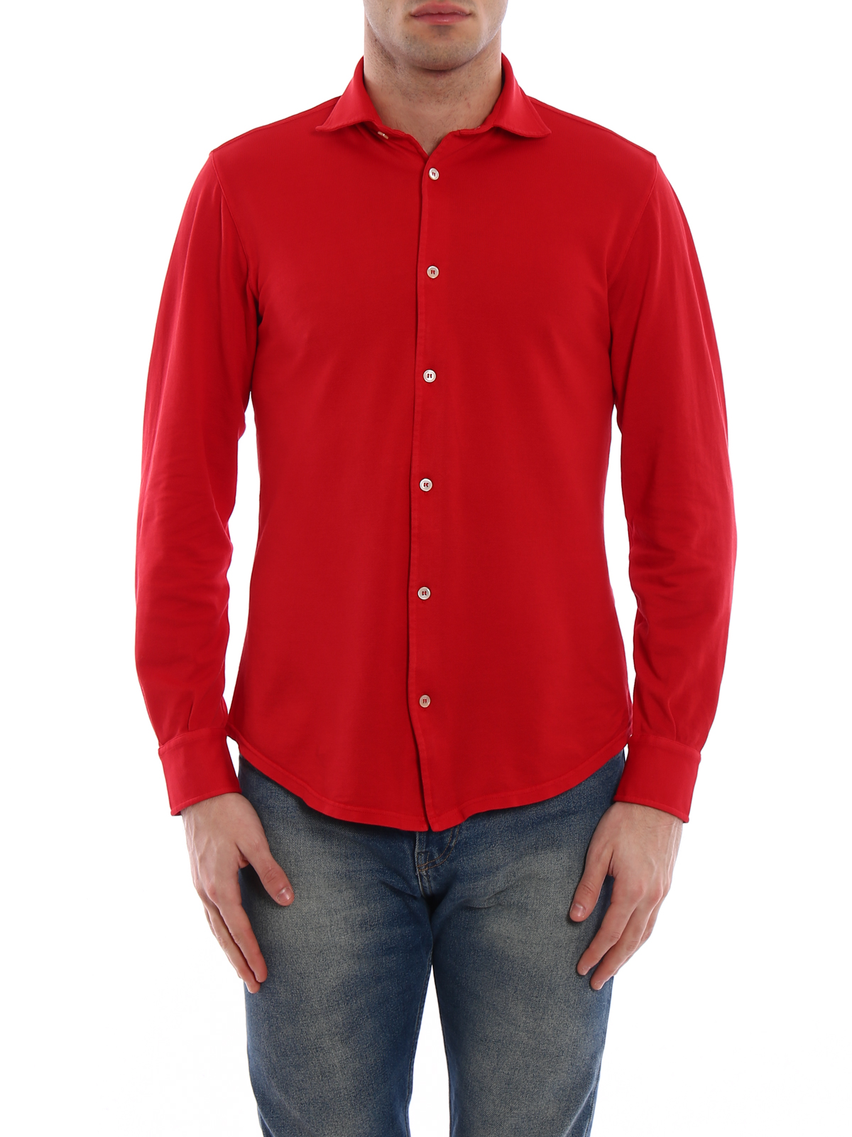 Fedeli Long Sleeves Red Polo Shirt Polo Shirts Fe1ue00101825p18