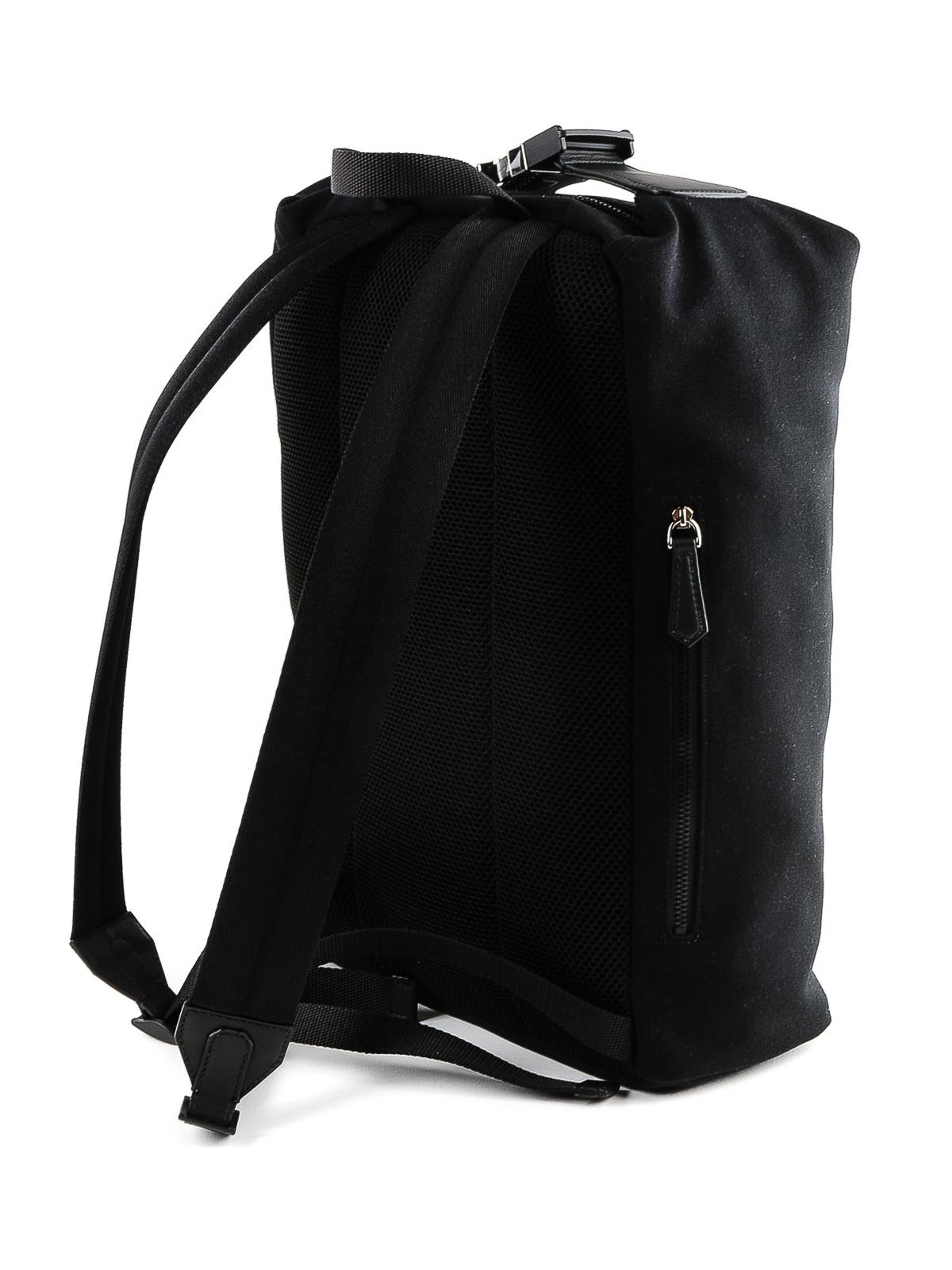 9be298894c1d iKRIX FENDI  backpacks - Front rubber logo black canvas backpack