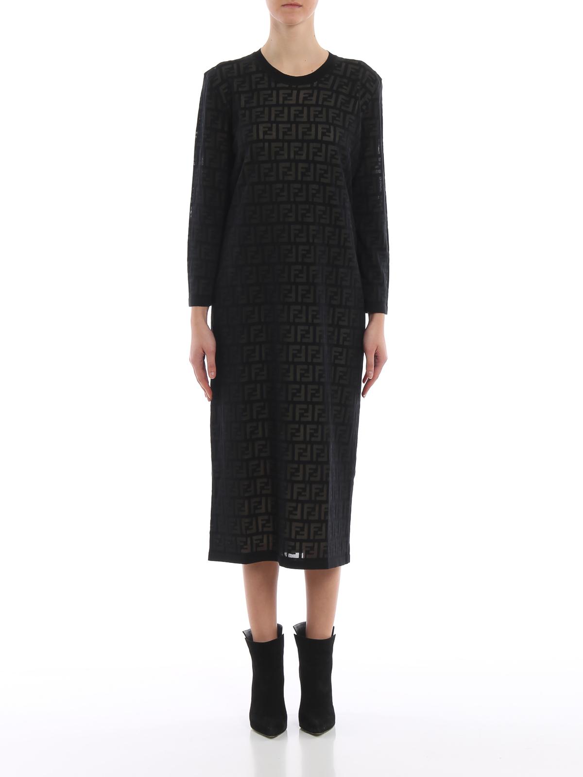 d2805a30d6e iKRIX FENDI  knee length dresses - FF pattern dévoré cotton dress