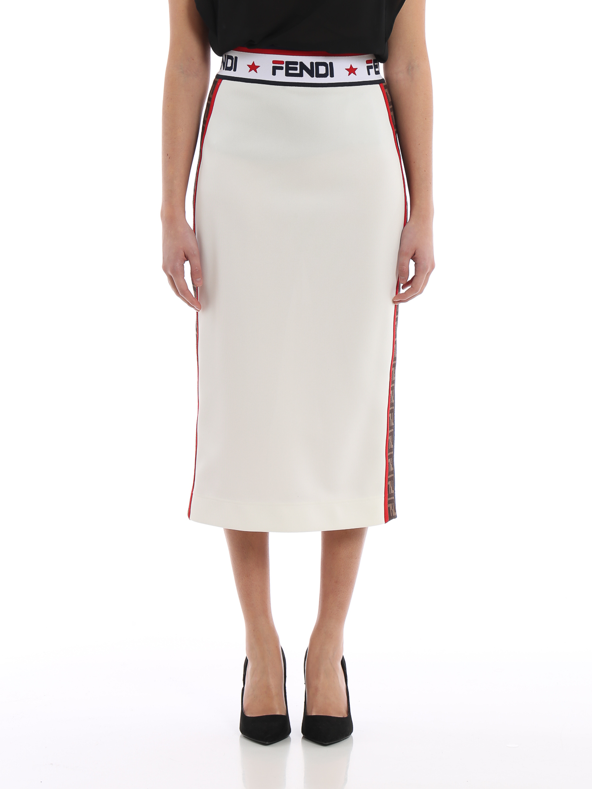 479cb90b8de iKRIX FENDI  Knee length skirts   Midi - Fendi Mania tech piqué jersey  pencil skirt