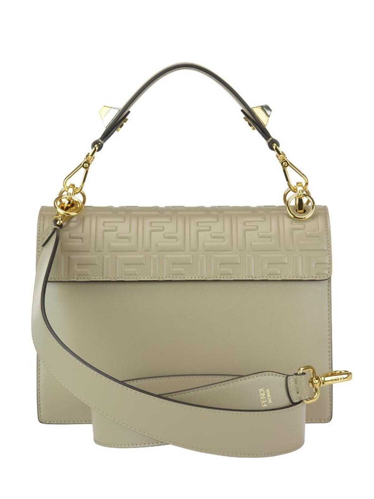 952fa21feab2 iKRIX FENDI  shoulder bags - Kan I embossed FF dove grey leather bag