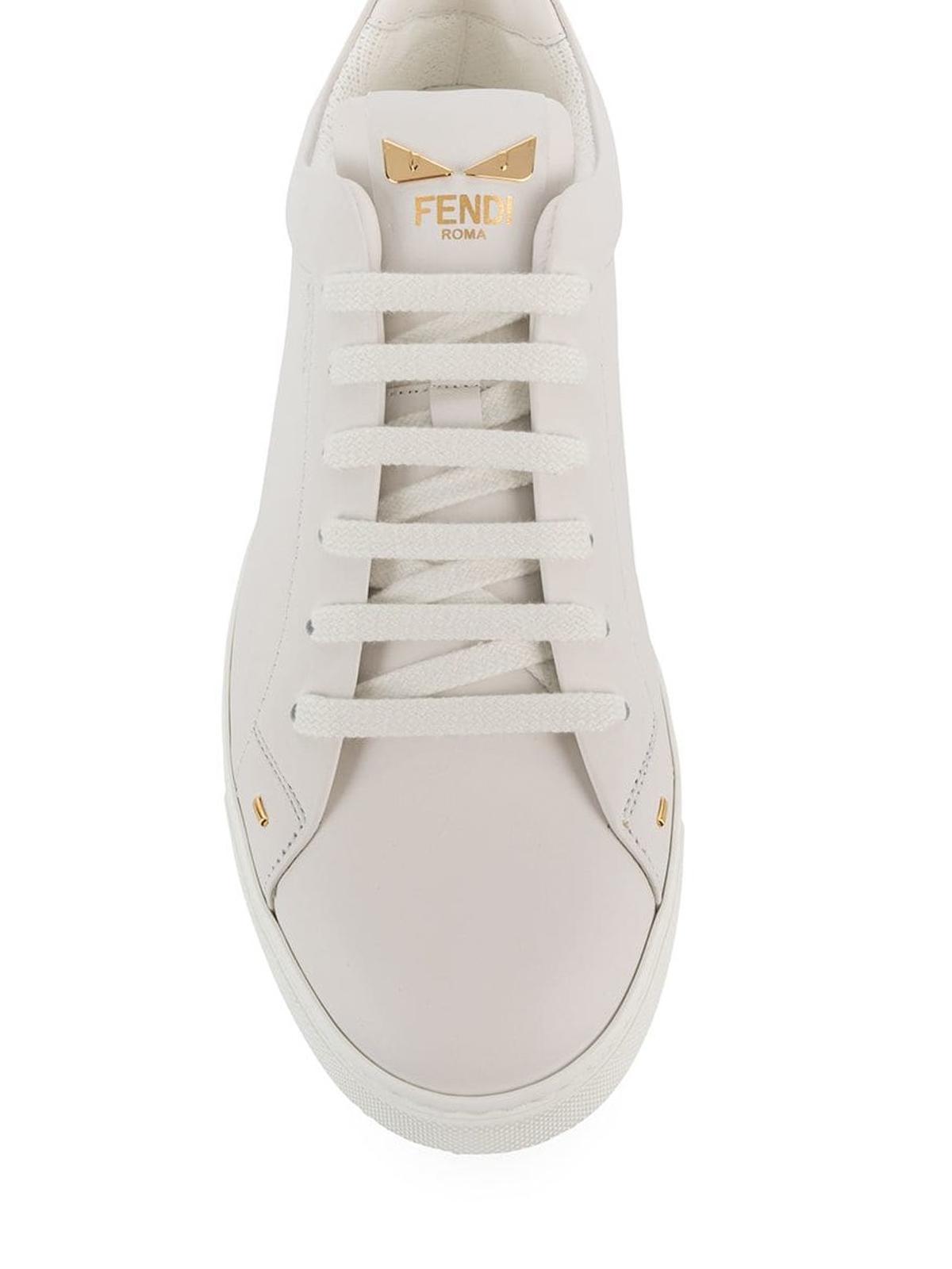 Fendi - Bag Bugs eyes leather sneakers