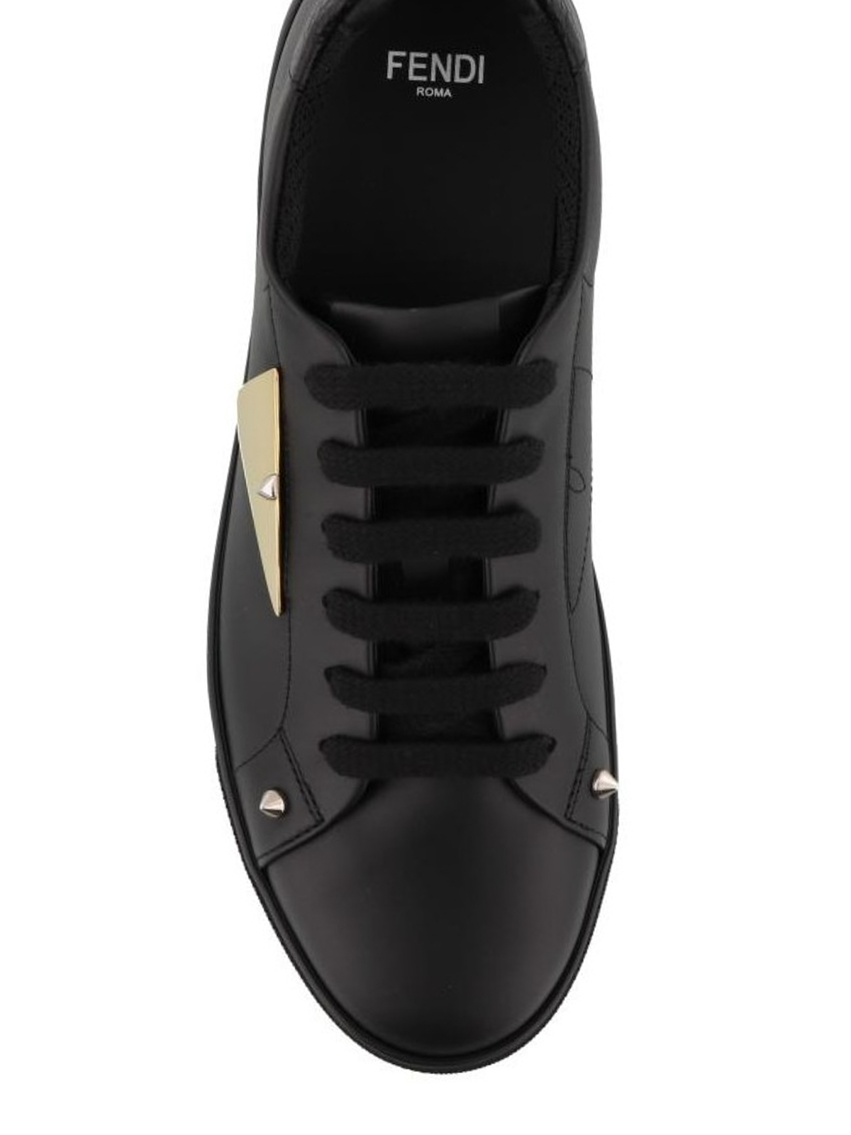 23c53421cb Fendi - Bag Bugs studded black leather sneakers - trainers ...
