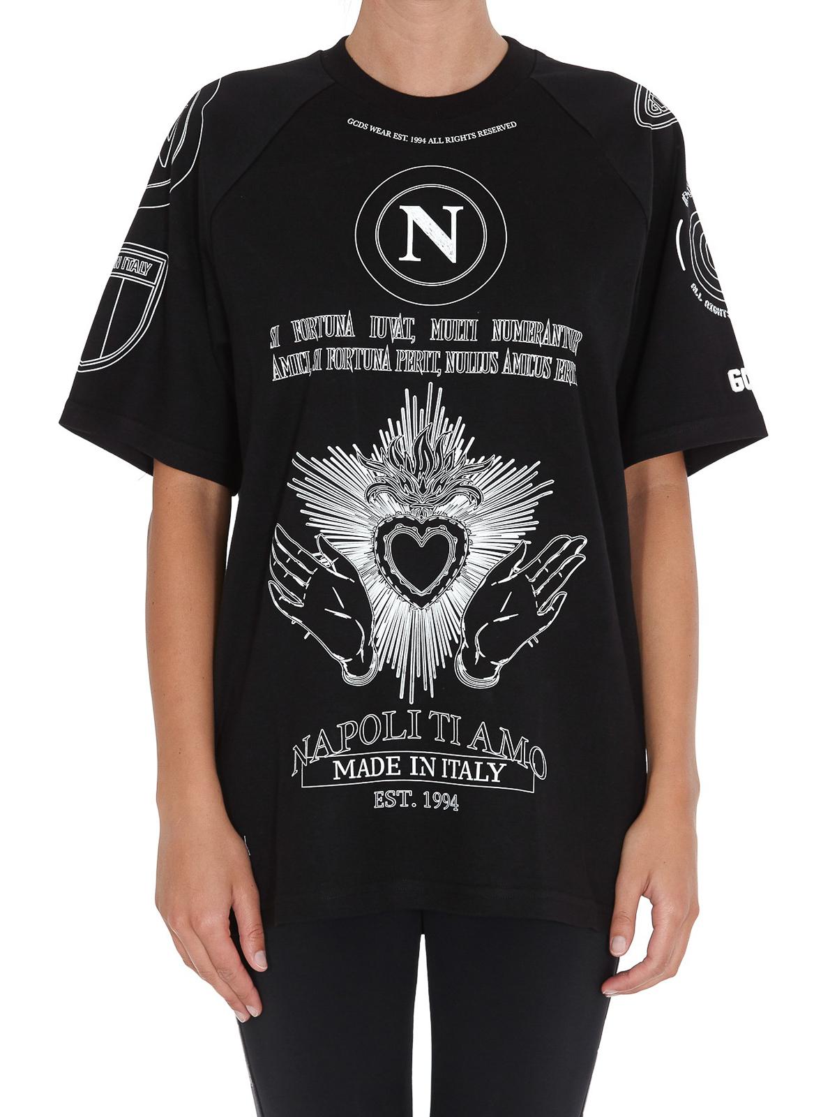 SSC Napoli Raglan Tee Gcds Unisex None X T-Shirt Erwachsene