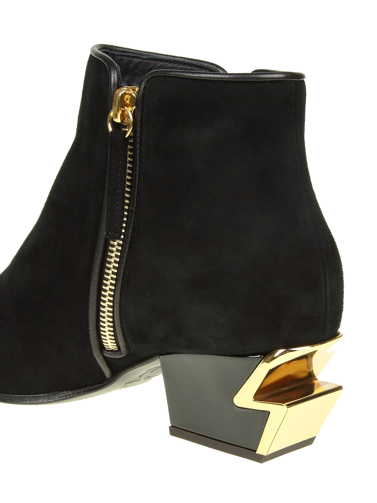 G-Heel black suede ankle boots