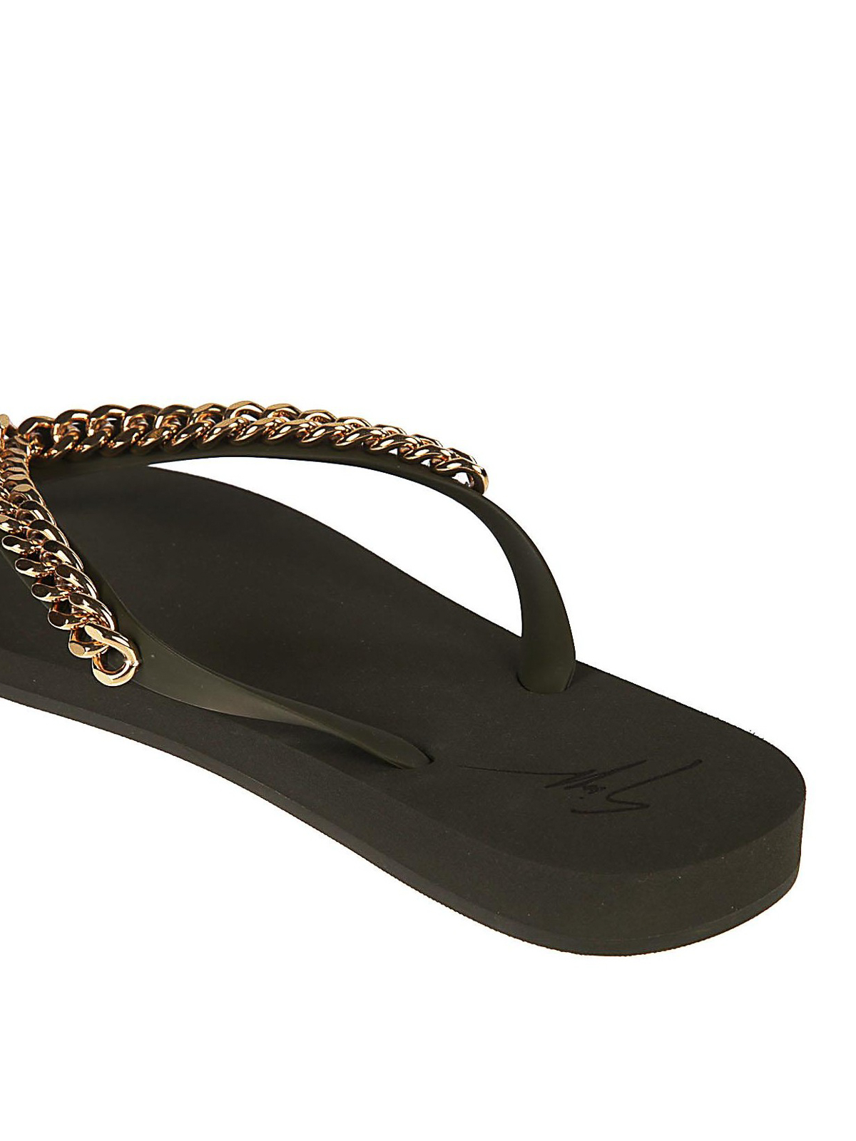 3591e87905a2 iKRIX GIUSEPPE ZANOTTI  flip flops - Chain detailed rubber flip flops