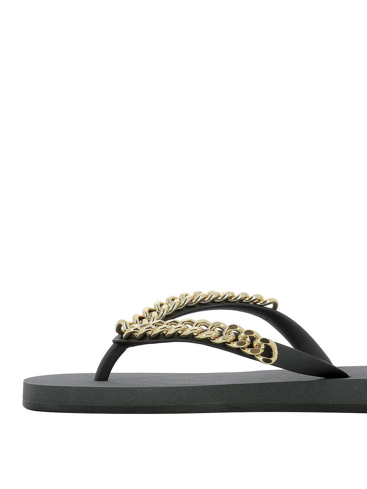 b81109fea731 iKRIX GIUSEPPE ZANOTTI  flip flops - Gold-tone chain rubber thongs
