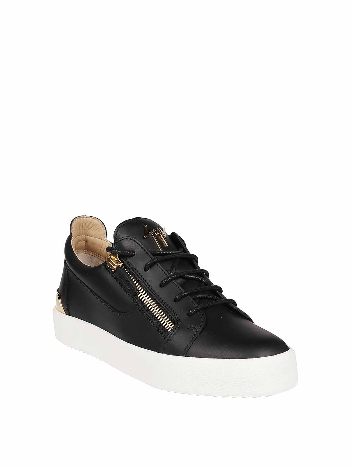 Frankie black leather sneakers