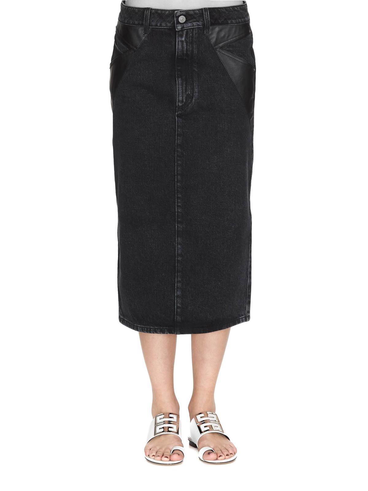 a8939383e iKRIX GIVENCHY: Knee length skirts & Midi - Black denim and leather pencil  midi skirt