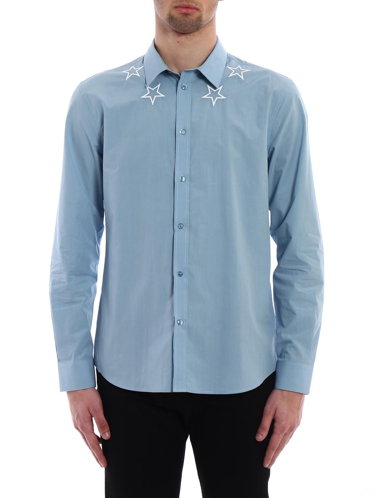 f09cd1efa5e Givenchy - Embroidered stars light blue shirt - shirts - BM6038109G452