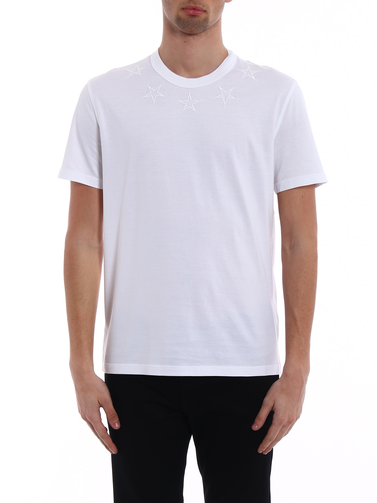 b69cf6c0dfd Givenchy - Embroidered stars white T-shirt - t-shirts - BM70703Y2W100