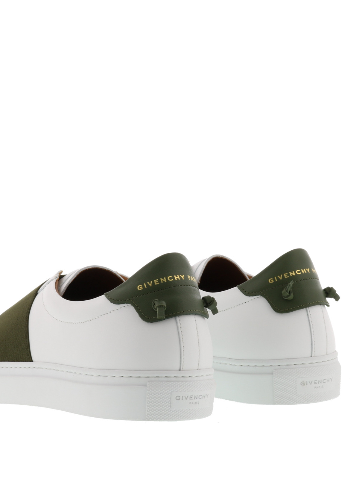 Elasticated strap leather slip-ons