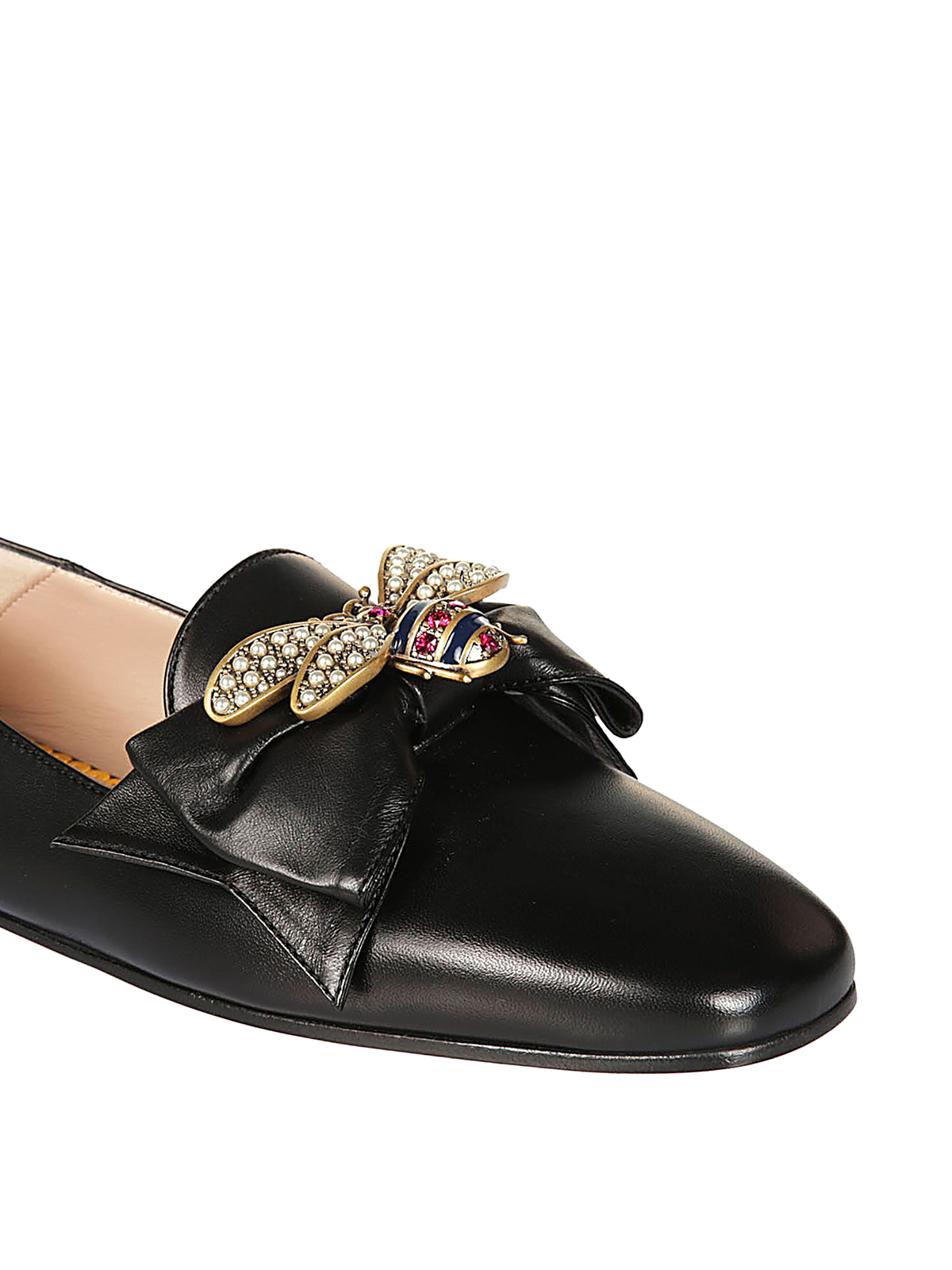 63cd83c94d3 Gucci - Bow and bee leather ballerinas - flat shoes - 505291BKO001000