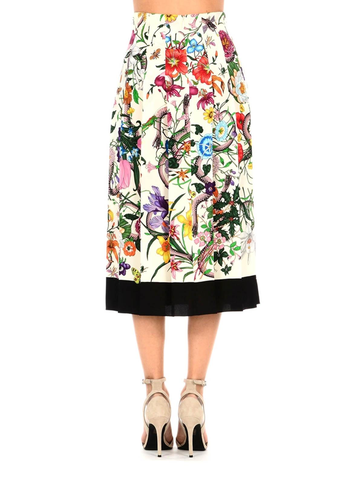 2533e84393 iKRIX GUCCI: Knee length skirts & Midi - Flora Snake silk pleated skirt