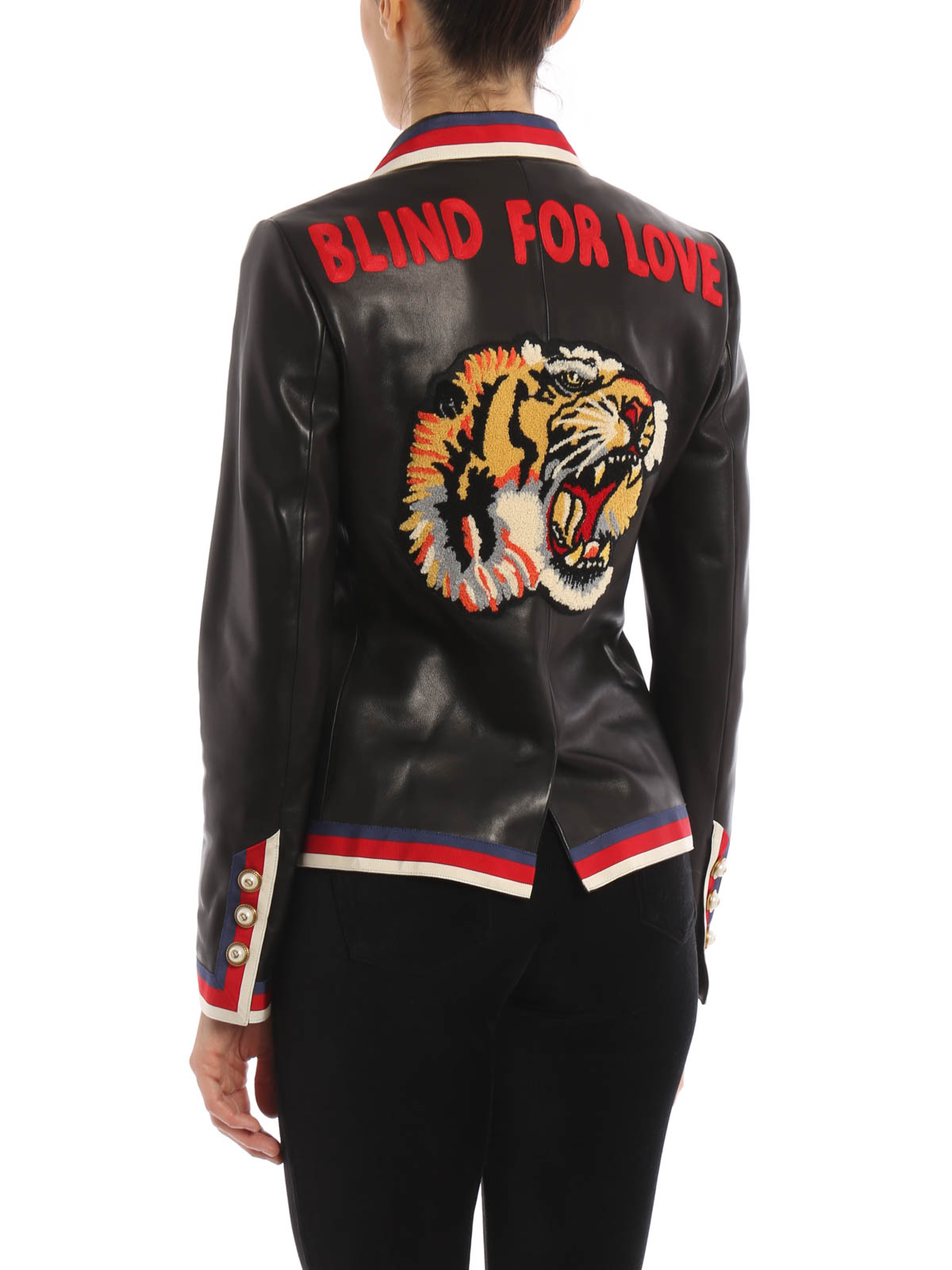 17bff9bf8 Gucci - Embroidered nappa leather blazer - leather jacket - 458150 ...