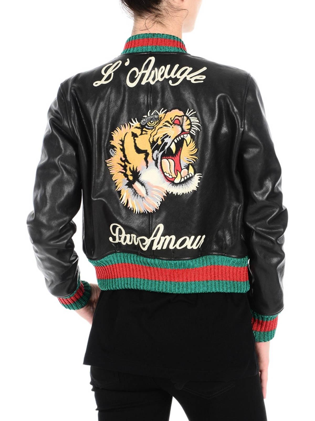 7fb37e89f Gucci - L'Aveugle Par Amour bomber jacket - leather jacket ...