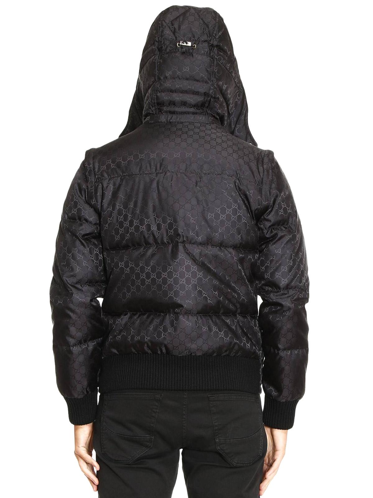 Gucci Gg Jacquard Nylon Puffer Jacket Padded Jackets