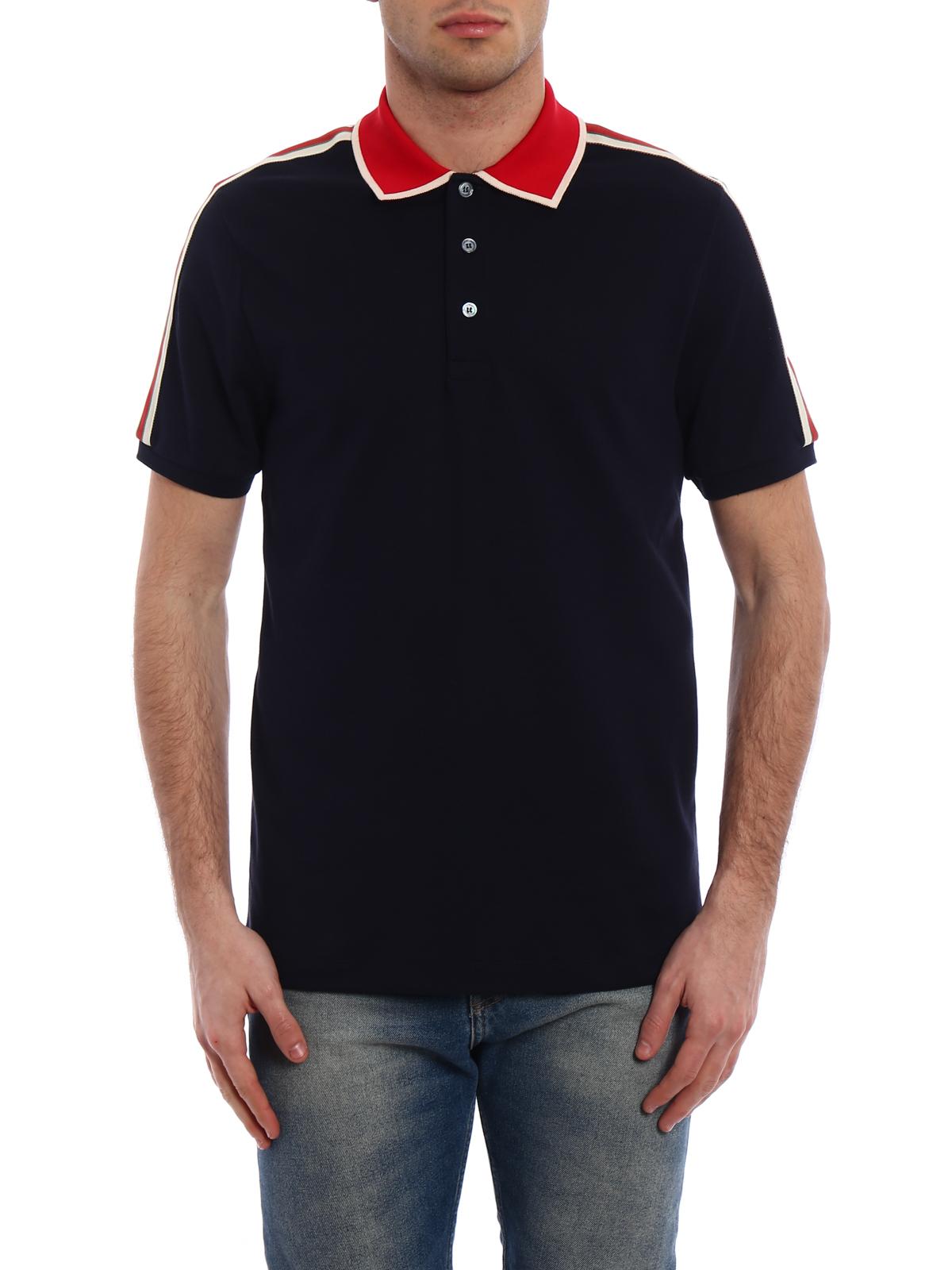 a9bcbf417504 ... Gucci Web detail cotton polo shirt polo shirts 500972X9M384705