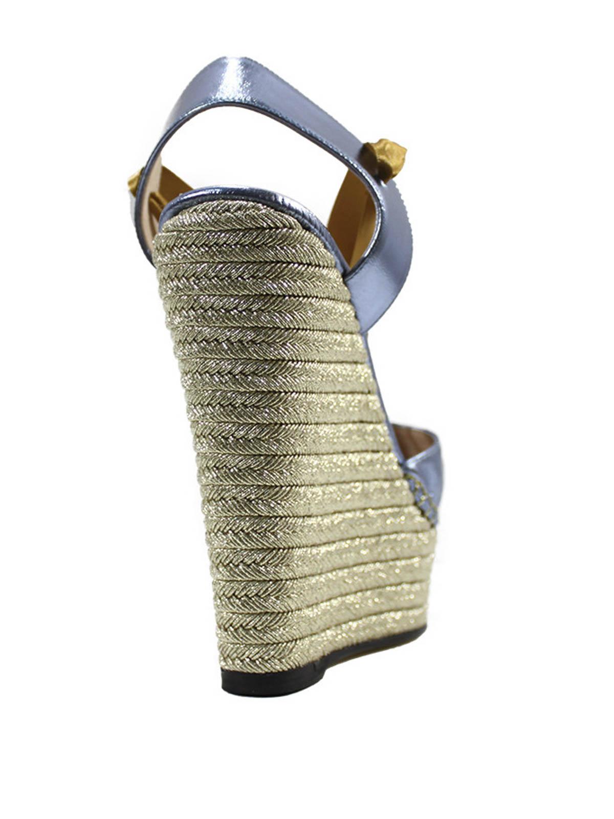 6b8c8832a2d4 Gucci - Alexis metallic leather wrap wedges - sandals - 408223 BJ800 ...