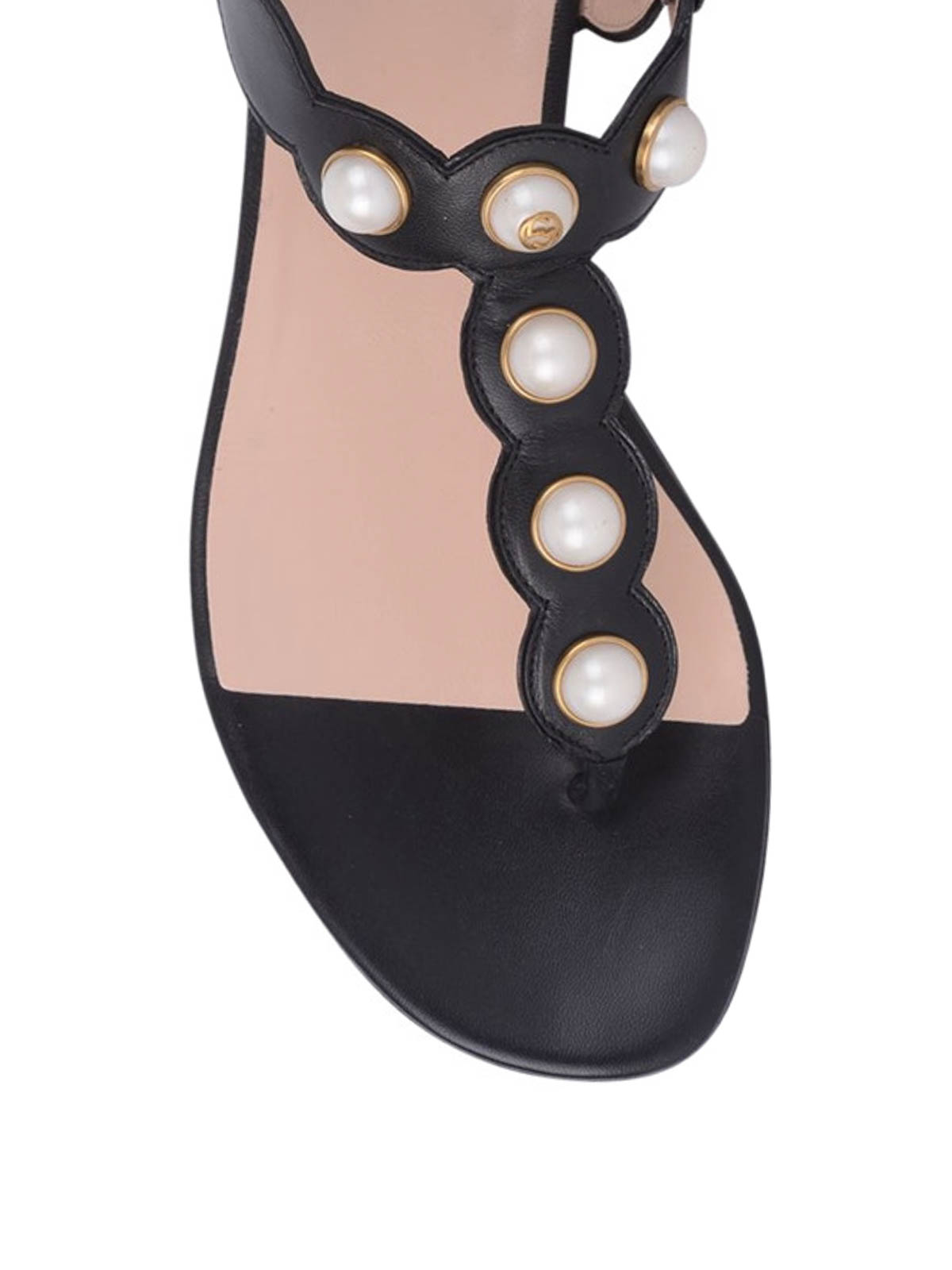 87985bc081e Gucci - Pearl embellished flat sandals - sandals - 424085 C9D00 1000