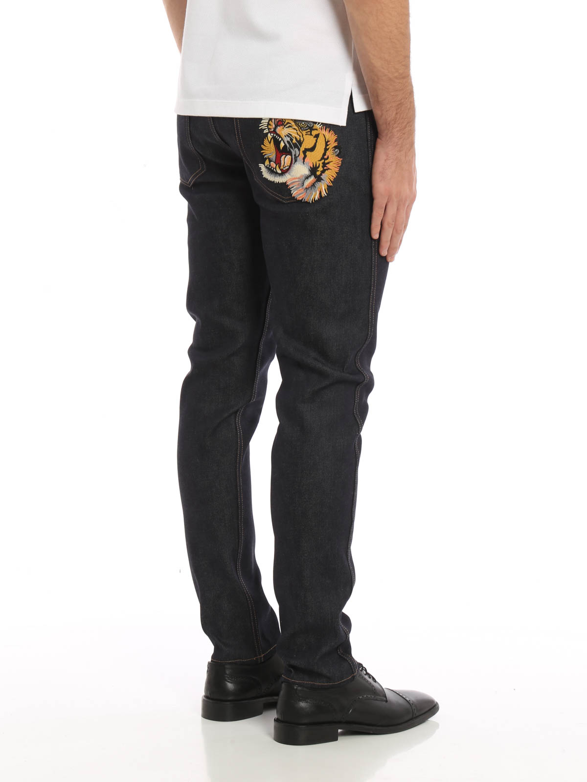Gucci Back Tiger Patch Slim Jeans Straight Leg Jeans 408636 Xr369 4395