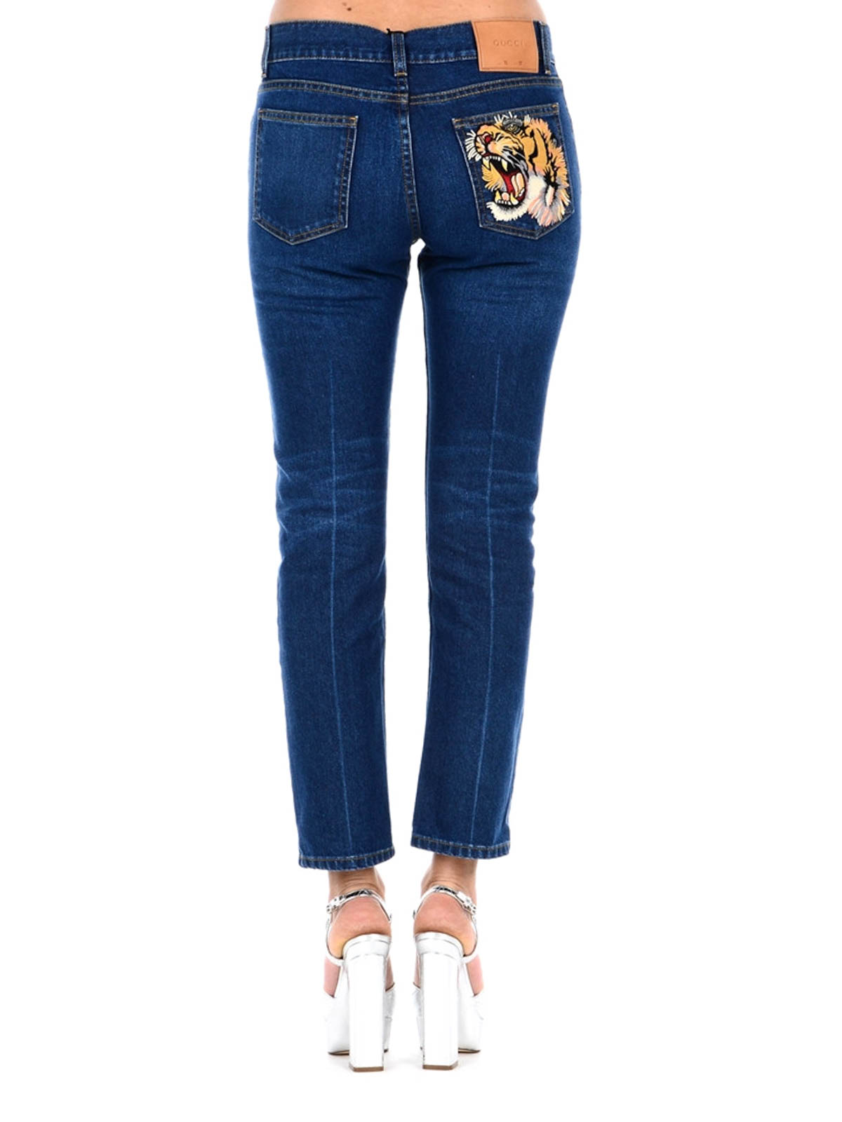 Gucci Flower And Tiger Patch Jeans Straight Leg Jeans