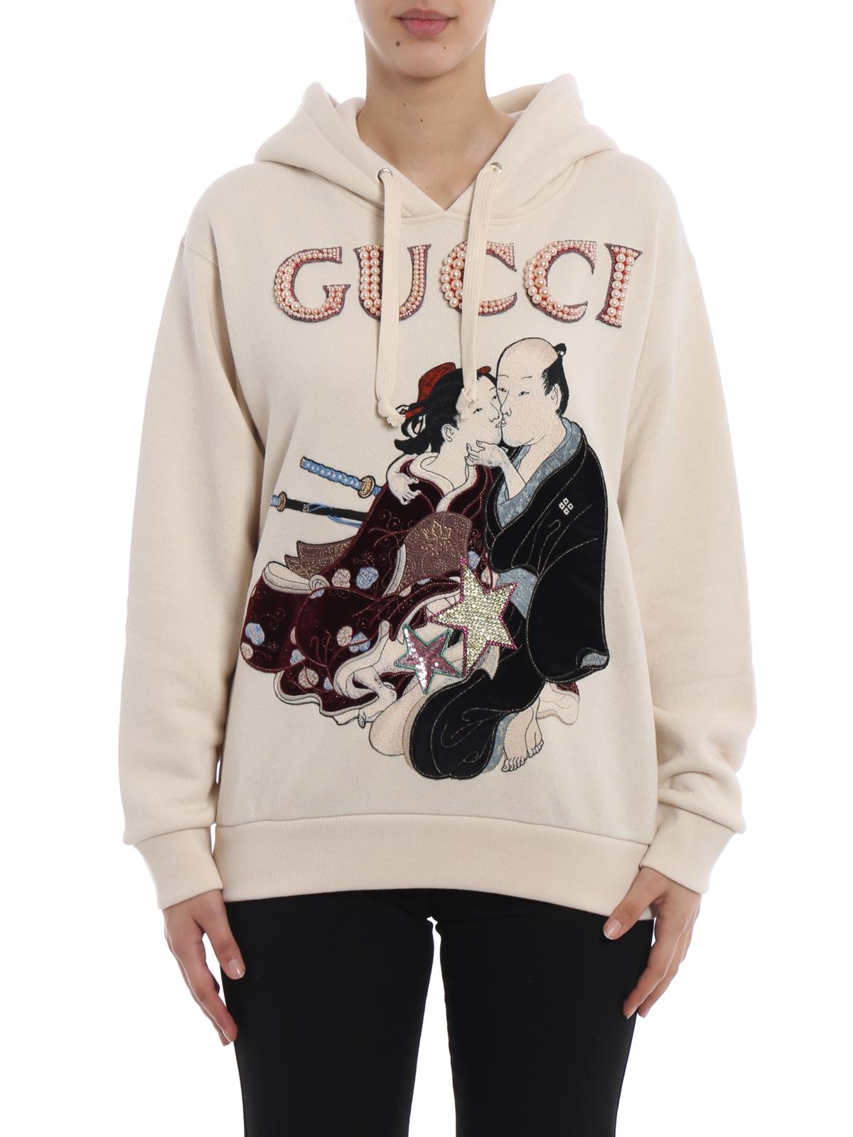 255569113 iKRIX GUCCI: Sweatshirts & Sweaters - Geisha pattern embellished hoodie