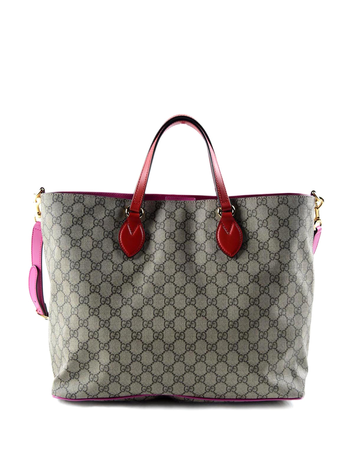 gucci original gg and leather soft tote totes bags 453705 k5i3g 9784. Black Bedroom Furniture Sets. Home Design Ideas