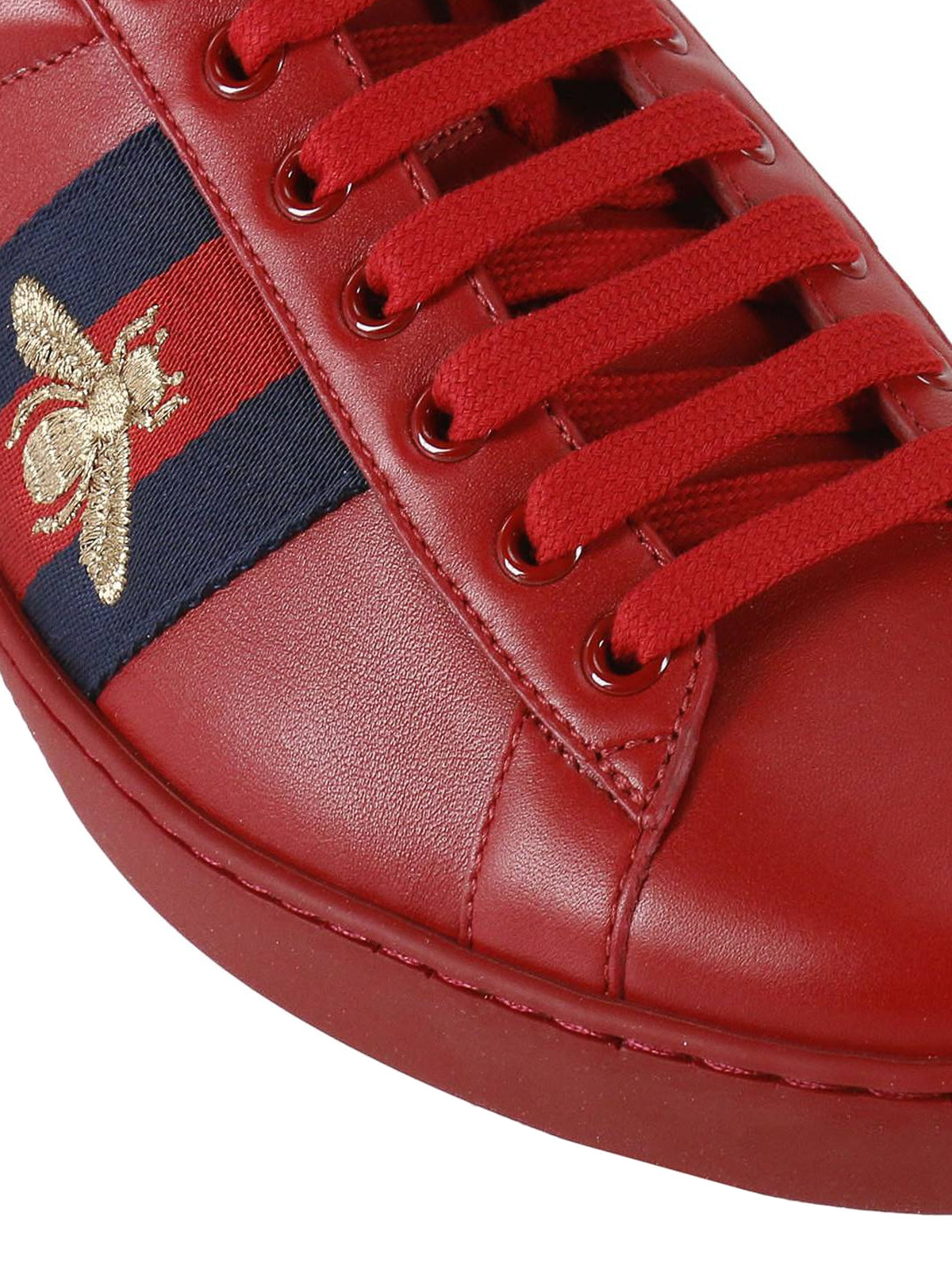 Aceweb gucci - ace web detail leather sneakers - trainers