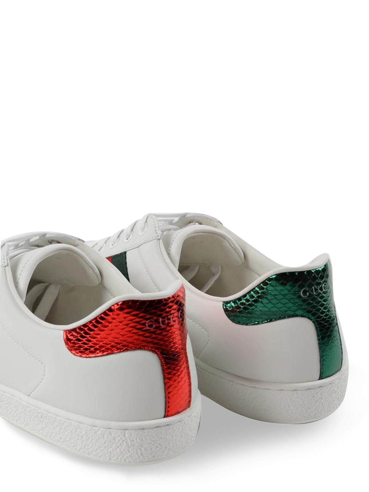 Gucci - Bee detailed leather sneakers