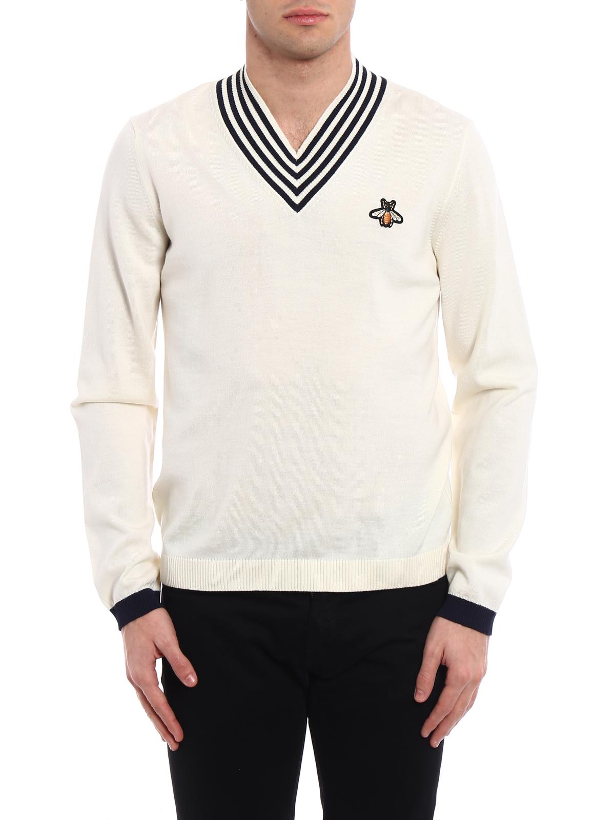 c67116049b4 Gucci - Striped V-neck white sweater - v necks - 496442 X9I00 9515