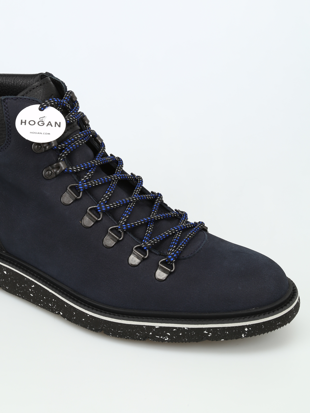 Hogan - H334 dark blue nubuck hiking boots - ankle boots ...