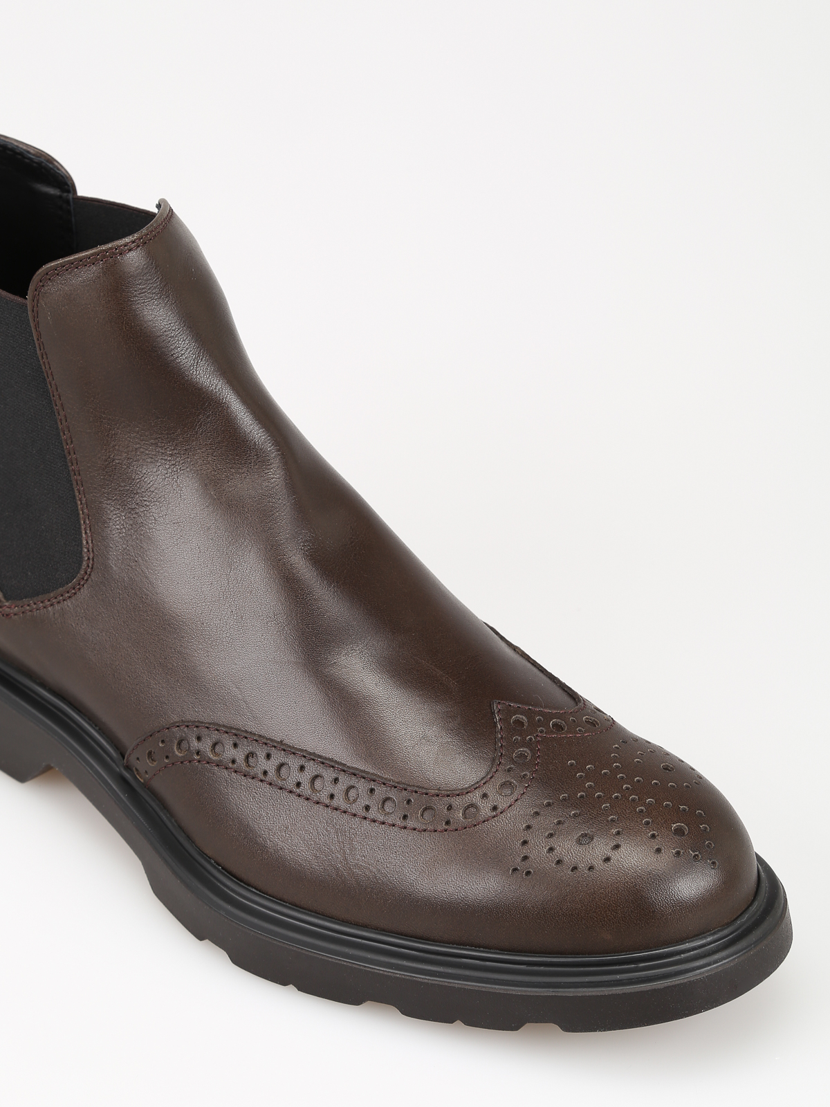 Ankle boots Hogan - H393 brown leather Beatle boots ...