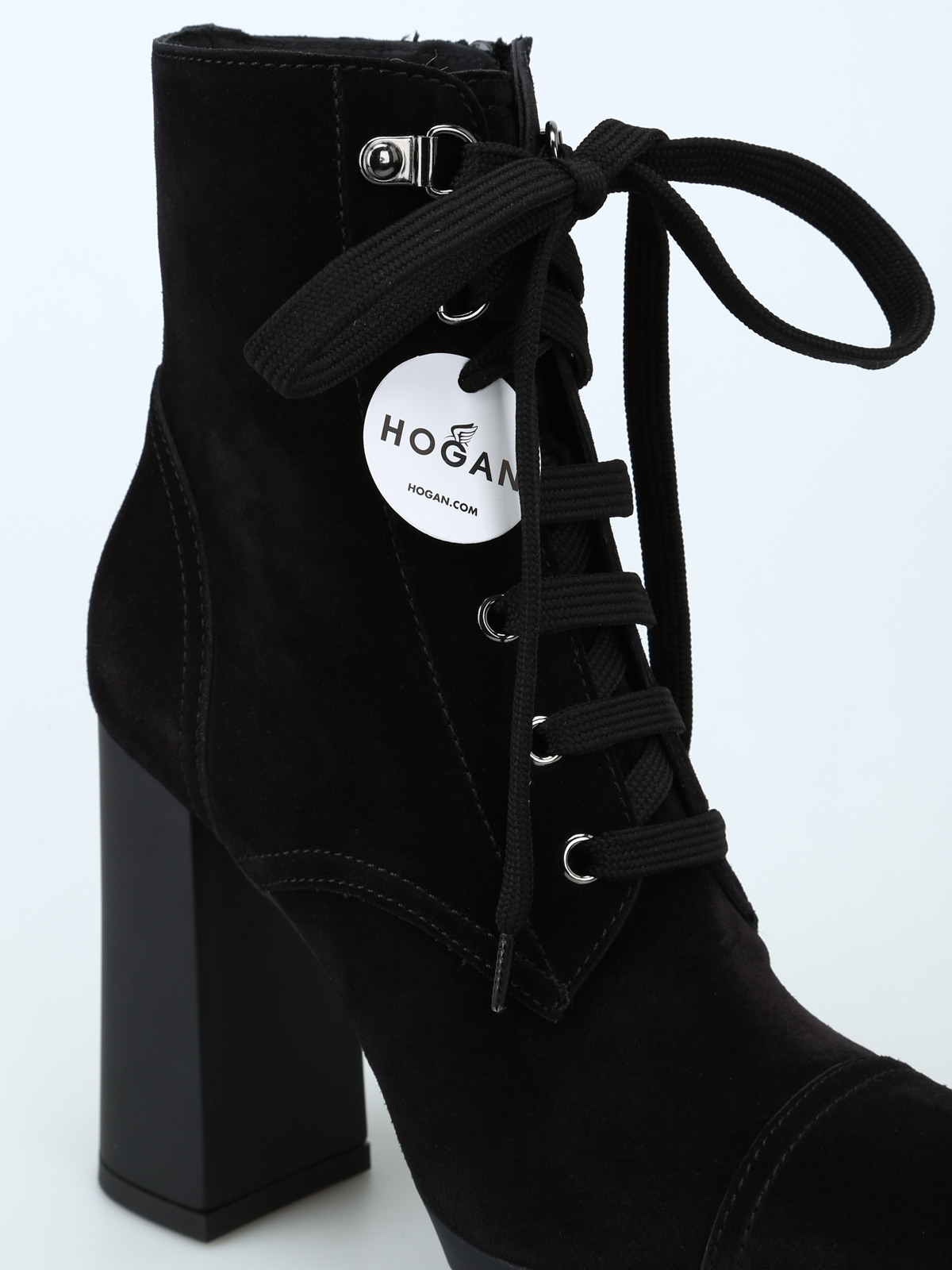 Suede lace-up heeled combat boots