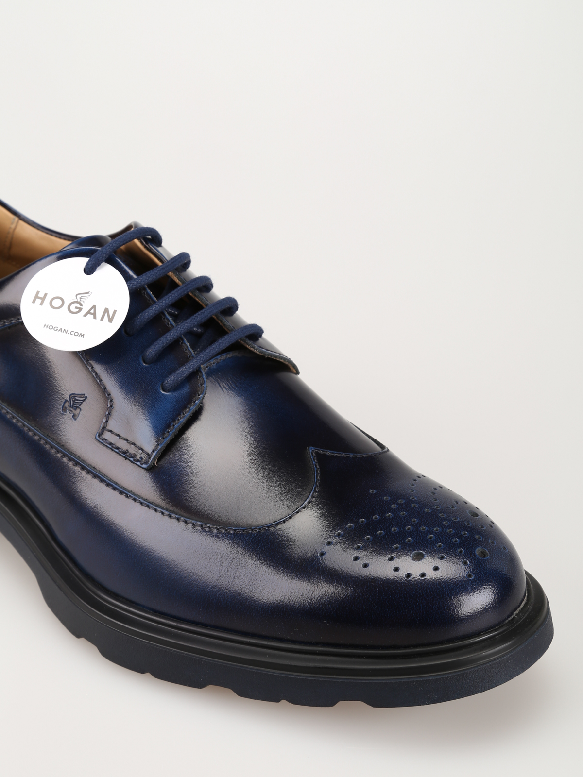 Scarpe stringate Hogan - Derby H304 in pelle blu sfumata ...