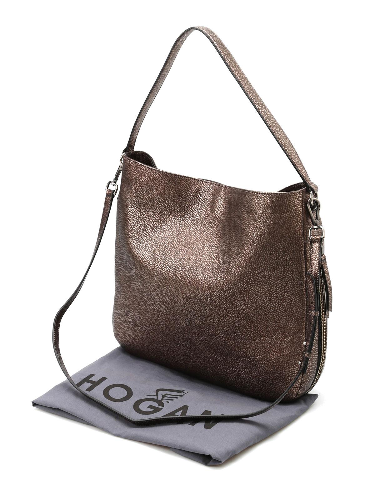 Shoulder bags Hogan - Hammered leather hobo bag - KBW00RE0300DUTC407