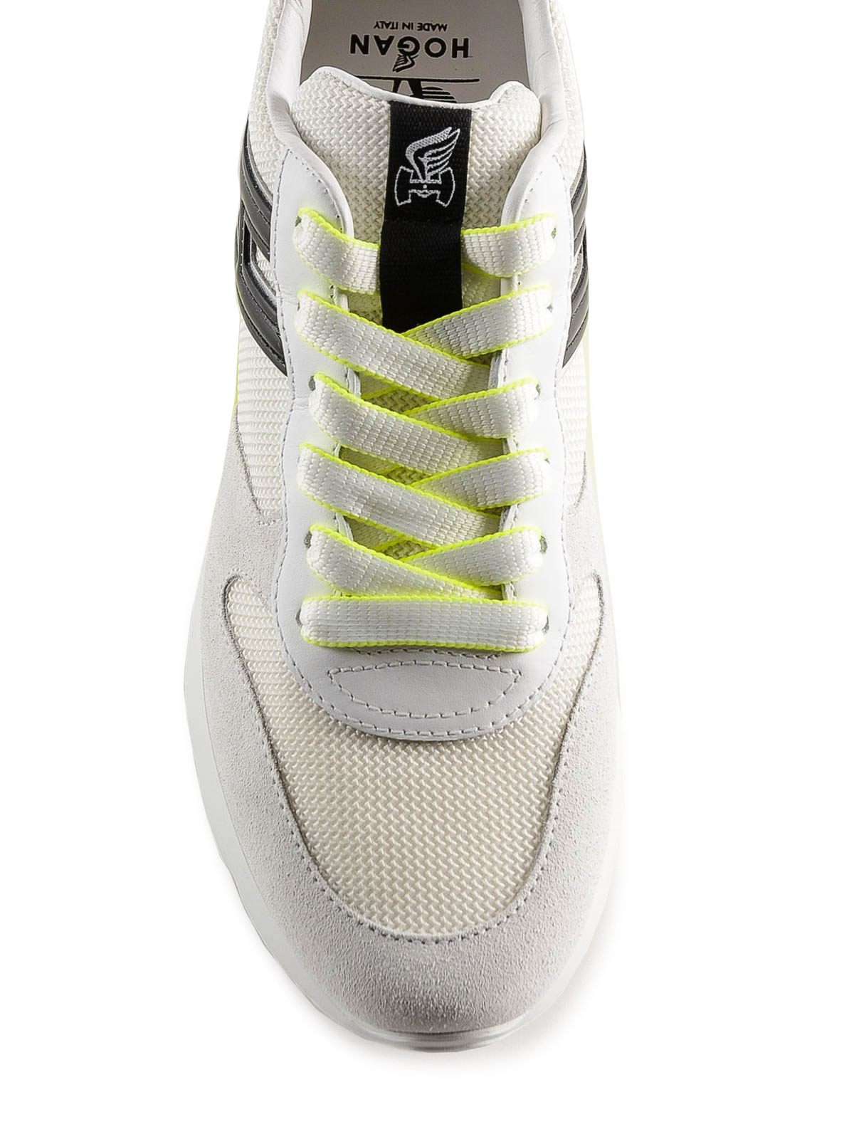 Trainers Hogan - Active One white and fluo suede sneakers ...