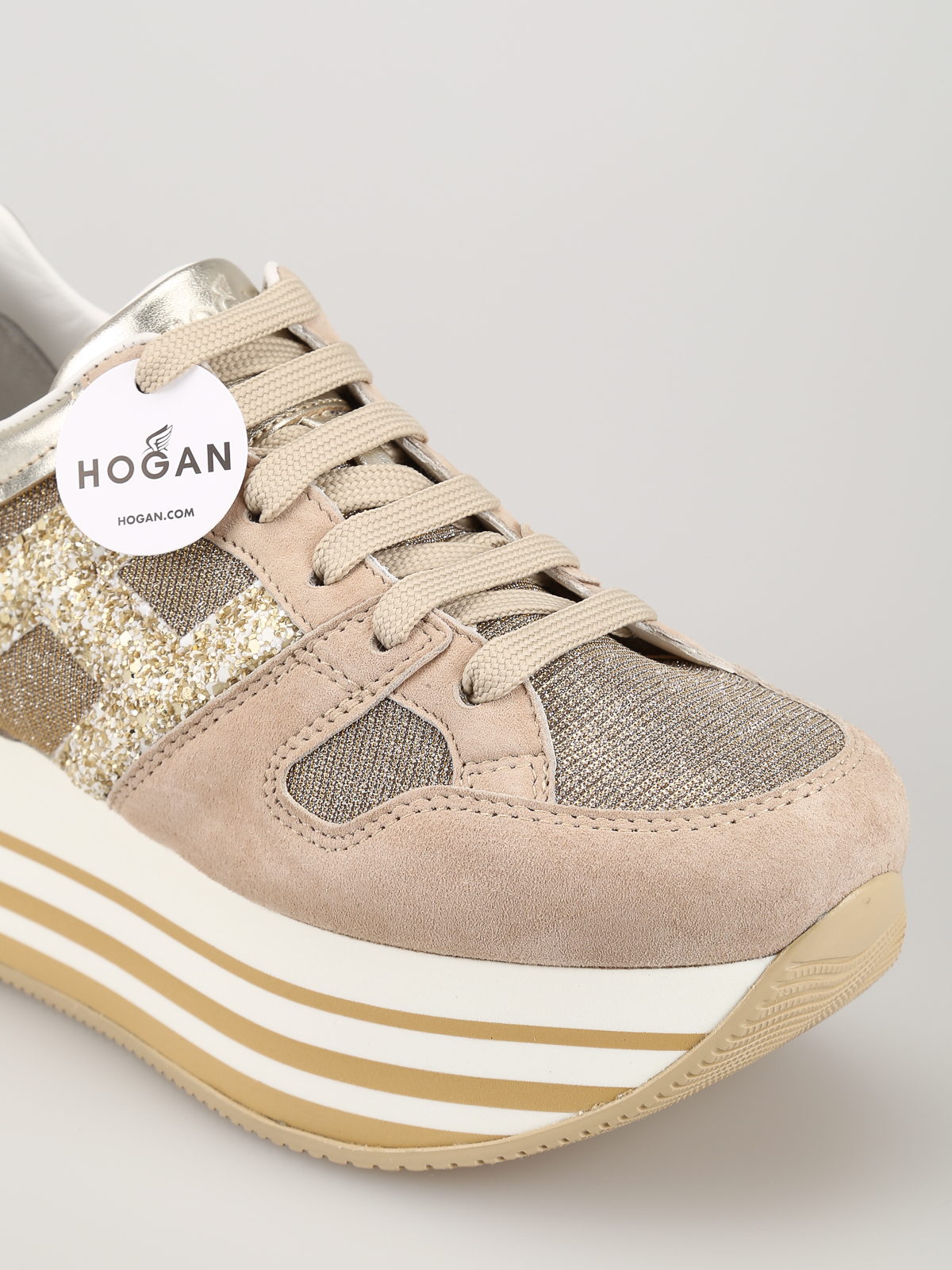 Trainers Hogan - Beige suede and fabric maxi sole sneakers ...