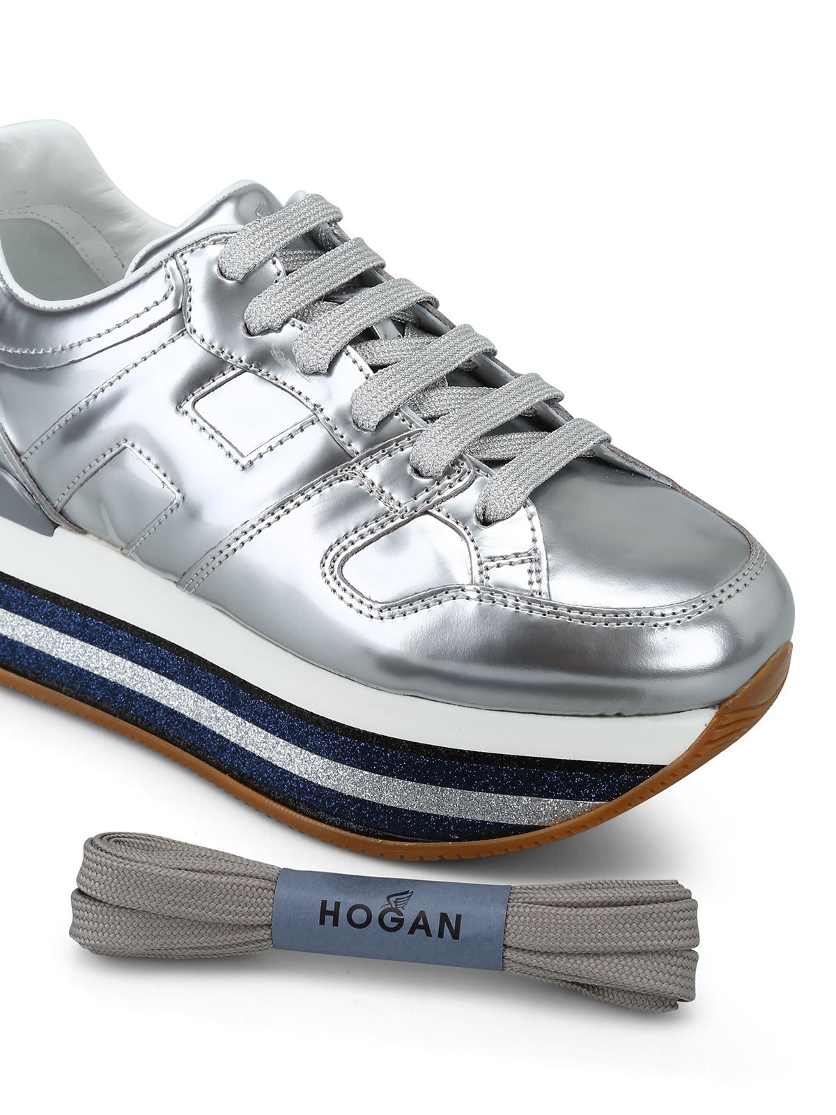 Sneakers Hogan - Sneaker argento e plateau con glitter rigato ...