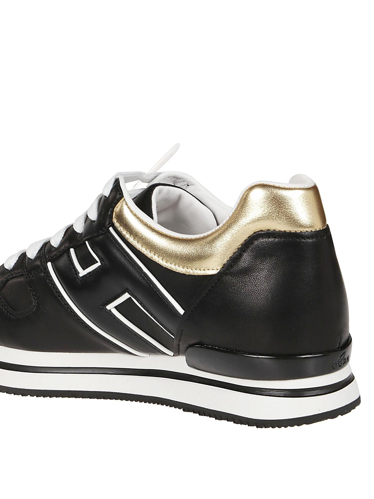 Sneakers Hogan - Sneaker H222 nere e oro in pelle - HXW2220CD90LVC2929
