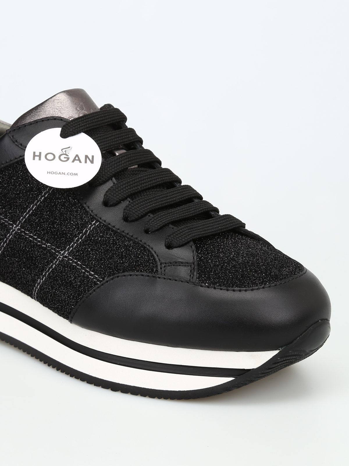 Trainers Hogan - H222 black leather and glitter sneakers ...