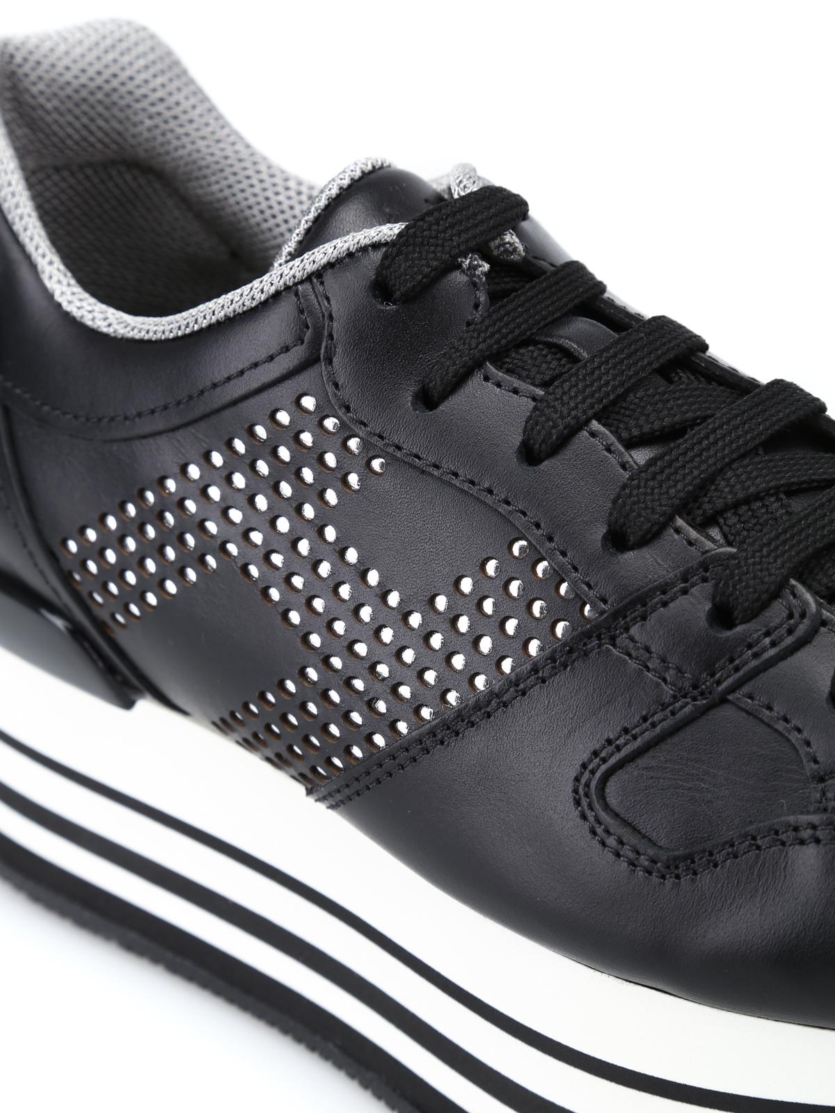 Sneakers Hogan - Sneaker H283 Maxi nere in pelle - HXW2830AA70KLAB999