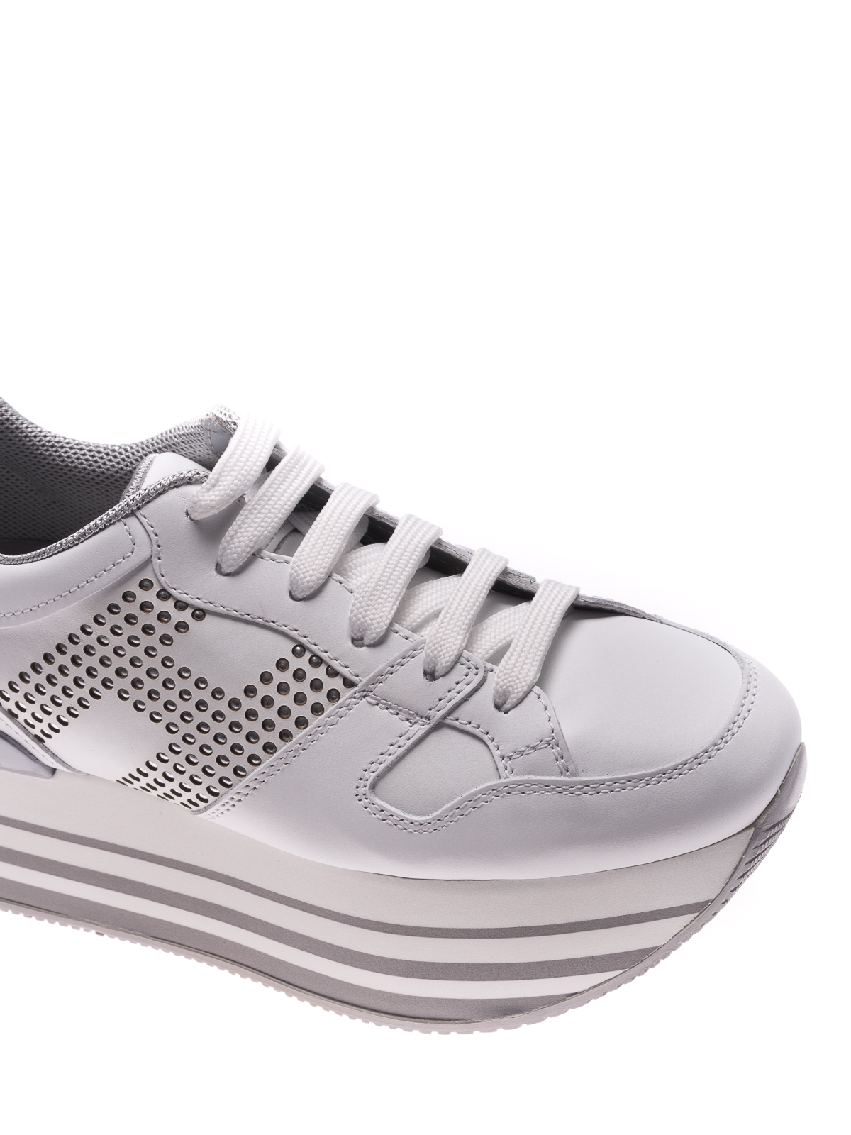 Hogan - H283 Maxi white leather sneakers - trainers ...