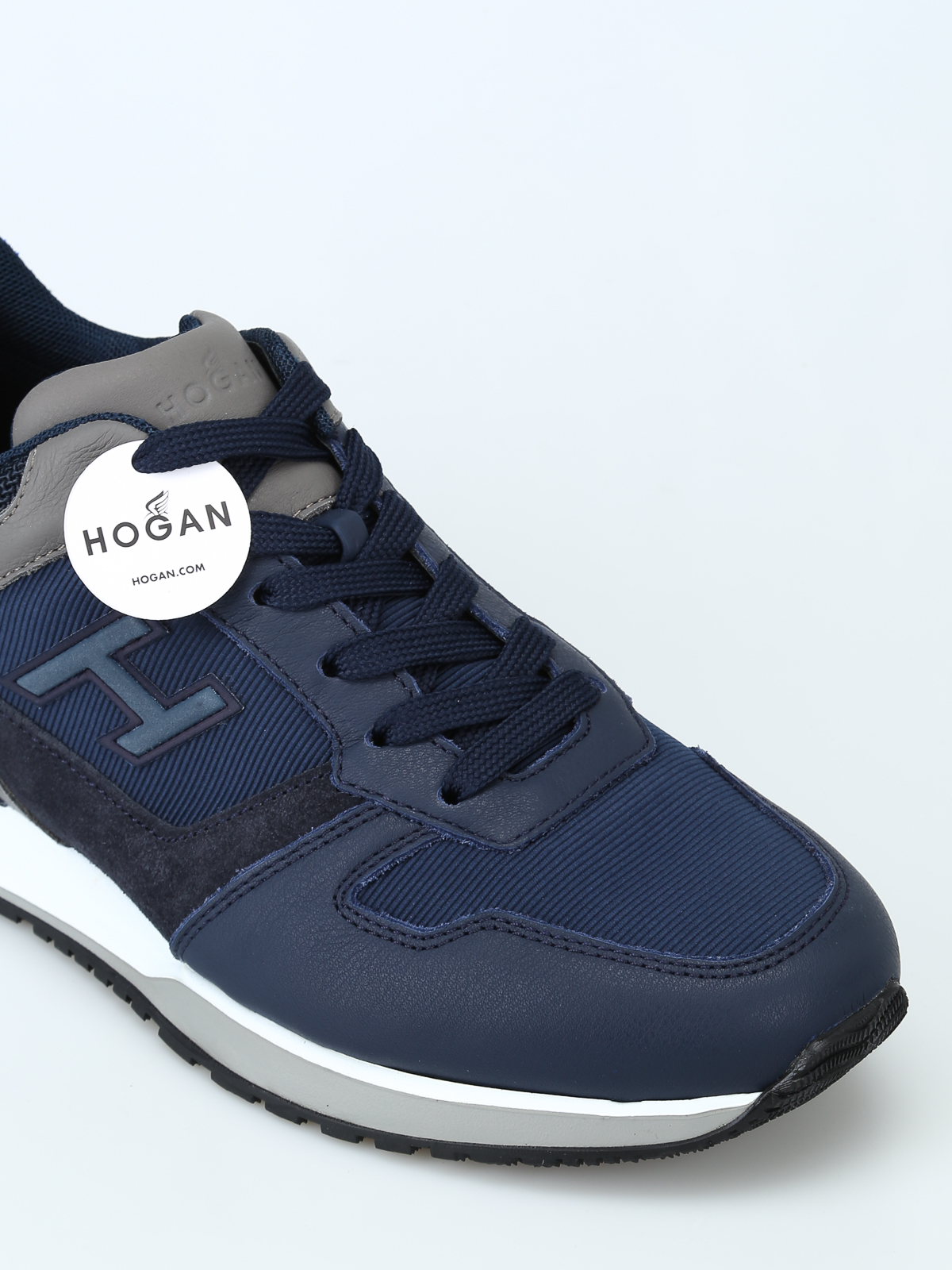 Hogan - H321 blue leather and suede sneakers - trainers ...