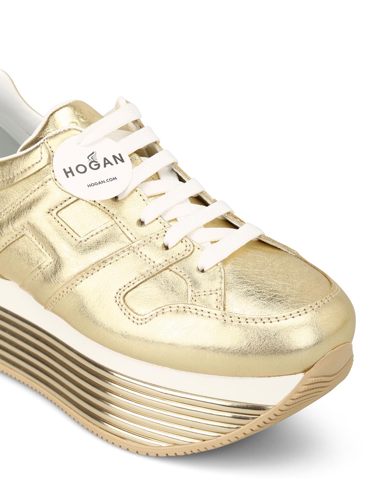 Sneakers Hogan - Sneaker H352 in pelle oro pallido ...